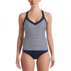 Nike Women's Laser Stripe Tankini Swimsuit Top - Blue, S