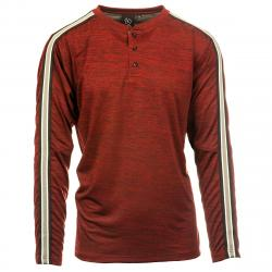 Burnside Men's Long Sleeve Henley - Red, L