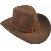 Kakadu Traders 6HW46 Brumby Leather Hat Brown