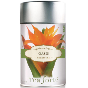 Tea Forte Oasis Green Tea - Loose Leaf Tea Canister - 50 Servings Canister