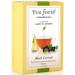 Tea Forte Black Currant Black Tea - Pyramid Box, 6 Infusers - 6 Infusers Pyramid Box