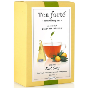 Tea Forte Earl Grey Black tea - Pyramid Box, 6 Infusers - 6 Infusers Pyramid Box
