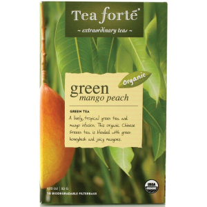 Tea Forte Green Mango Peach Green Tea - 16 Filterbags - 16 Forte Filterbag Box