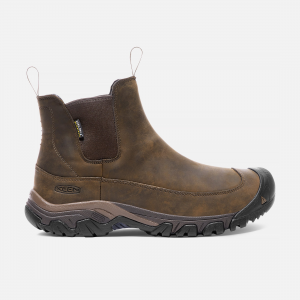 All-season, all-occasion versatility sets this boot apart. Nubuck leather looks good with jeans or slacks, while waterproofing, insulation and a snow-friendly sole make it ideal for winter wear. | Keen Men\\'s Waterproof Anchorage III Boot Size 9.5, In Dark Earth/Mulch.