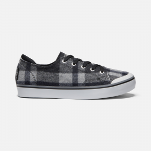 Our bestselling, do-everything women\\'s sneaker got a comfy update. Cozy up to sweater weather with its plaid, wool-blend upper, our cushioned KEEN Luftcell PU insole and a cushioned heel panel. All in for fall. | Keen Women\\'s Elsa III Plaid Sneaker Shoes Size 5, In Black Plaid/Black.