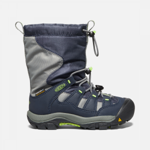 When kids want the comfort of their favorite sneaker and the warmth of a waterproof snow boot, the kids\\' Winterport boot helps little kids earn that hot cocoa with toasty toes. Fleece lined and insulated to -25degF. | Keen Little Kids Waterproof\\' Winterport Shoes Size 9, In Blue Nights/Greenery - Waterproof.