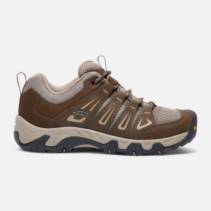 The trick to transitional hiking is versatility, and this men\\'s trail shoe is a summer-to-fall favorite. Made of mesh and leather, it has a moisture-wicking lining and a stability shank for all-day support. | Keen Men\\'s Oakridge Shoes Size 14, In Cascade Brown/Brindle.
