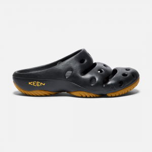 Relax and unwind in the Yogui slip-on from KEEN. The textured footbed lightly massages tired feet. Steady and cushioned, the non-marking rubber outsole encourages a welcome break from adventure-hunting. | Keen Men\\'s Yogui Sandals Size 9, In Black.