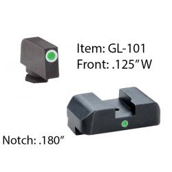 Ameriglo Tritium i-Dot Night Sight for Glock 17-39 / Front Tritium - Green / Front Outline - White / Rear - Green, Square Notch