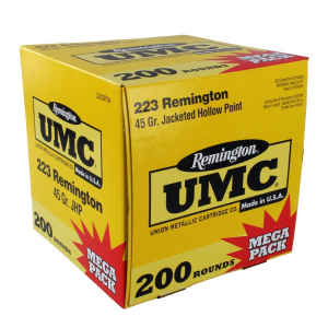 Remington UMC Rifle Ammunition .223 Rem 45 gr JHP 3550 fps – 200/box