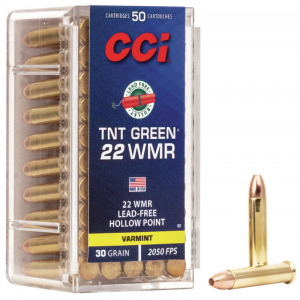 CCI .22 WMR V-MAX Rimfire Ammunition .22 WMR 30 gr TNT Green HP 50/box
