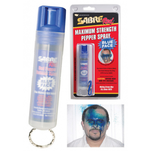 Sabre Red Blue Face Pepper Spray Keychain