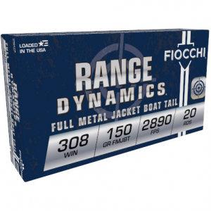 Fiocchi Rifle Shooting Dynamics Rifle Ammunition .308 Win 150 gr FMJ 2890 fps – 20/box