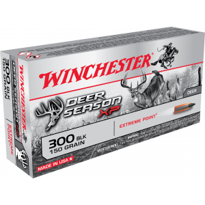 Winchester Deer Season XP Rifle Ammunition .300 AAC Blackout 150 gr PT 1900 fps 20/ct