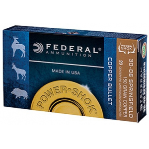Federal Copper Power-Shok Rifle Ammunition .30-06 Sprg150 gr CHP 2910 fps 20/ct