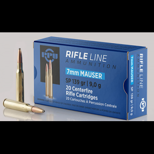 PPU Rifle Ammunition 7mm Mauser 139 gr SP 2660 fps – 20/ct