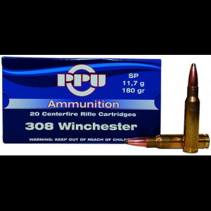 PPU Rifle Ammunition .308 Win 180 gr SP 2454 fps 20/ct