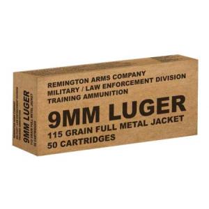 Remington Military/Law Enforcement Training Ammunition 9mm 115 gr FMJ 1145 fps 50/ct