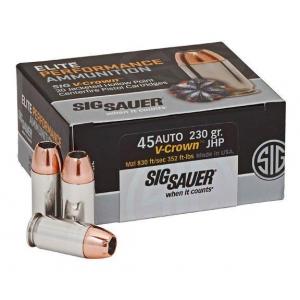 Sig Elite V-Crown Handgun Ammunition .45 ACP 230 gr JHP 830 fps 50/ct