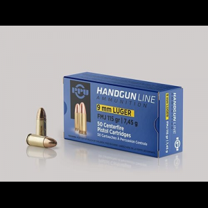 PPU Handgun Ammunition 9mm Luger 115 gr FMJ 1145 fps 50/ct