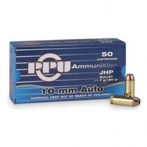 PPU Standard Handgun Ammunition 10mm Auto 180gr JHP 1082 fps 50/ct