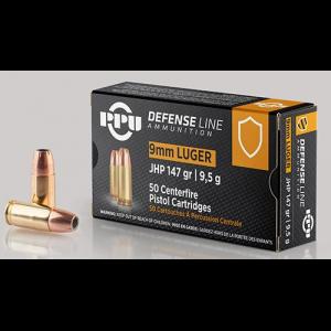 PPU Handgun Ammunition 9mm Luger 147gr JHP 990 fps 50/ct