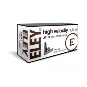 Eley High Velocity Hollow Rimfire Ammunition .22LR 38gr HP 1250 fps 50/ct