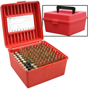 MTM Deluxe R-100 Series Rifle Ammo Box – 100 rd, Red