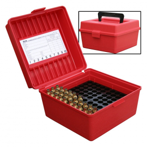 MTM Deluxe R-100 MAG-30 Series Rifle Ammo Box – 100 rd, Red