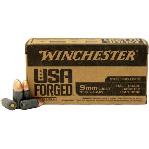 Winchester USA Forged Handgun Ammunition 9mm Luger 115 gr FMJ 1190 fps 1000/ct