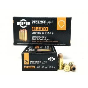 PPU Defense Handgun Ammunition .45 Acp 185 gr JHP 935 fps 50/ct
