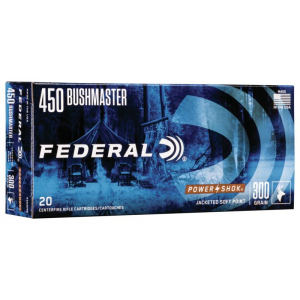 Federal Power-Shok Rifle Ammunition .450 Bushmaster 300 gr JHP 1900 fps 20/ct