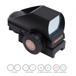 Truglo Tru-Brite Multi-Reticle Dual Color Open Red Dot Sight – 24x34mm Window Multi-Reticle – Black (Clamshell)