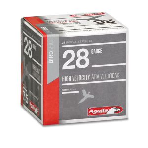 Aguila High Velocity Shotshells 28ga 2-3/4″ 3/4oz 1275 fps #8 25/ct