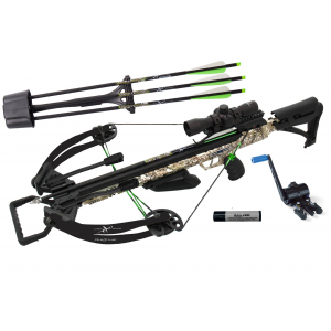 Carbon Express PileDriver 390 Crossbow Package with Crank Device & 4x32mm Scope – Camo