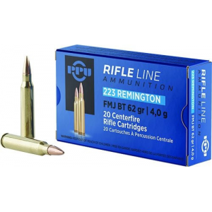 PPU Rifle Ammunition .223 Remington FMJ BT 62gr 3042 fps 20/ct