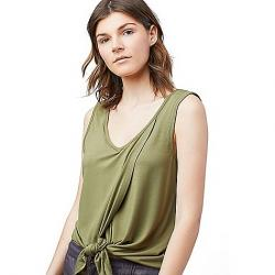 United By Blue Women's Crossroads Tie Front Tank Olive