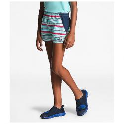 The North Face Girls' Class V Water 3 Inch Short Mint Blue Multi Thin Stripe Print