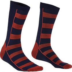 Mons Royale Men's All Rounder Stripes Crew Sock Navy / Bright Red