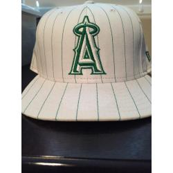 Los Angeles Angels of Anaheim White and Green Striped Hat