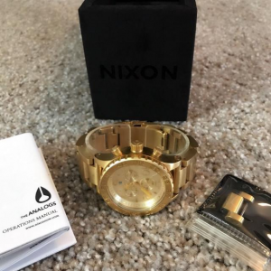 NEW!!! NIXON CHRONOGRAPH WATCH 42-20 ALL GOLD WITH BOX WATER RESISTANT