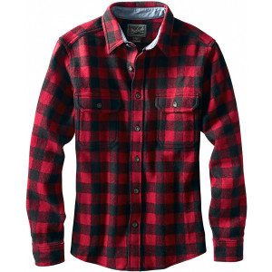 Wool Buffalo Flannel Shirt - Men's Red/Black, M - Excellent