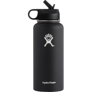 32oz Wide Mouth Water Bottle with Straw Lid Black, One Size - Excellen