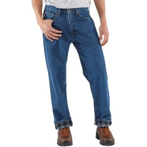 Relaxed-Fit Straight-Leg Flannel Lined Denim Pant - Men's Darkstone, 4