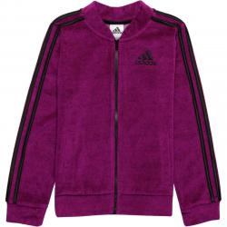 Adidas Pink Velour Bomber Jacket - Girls'