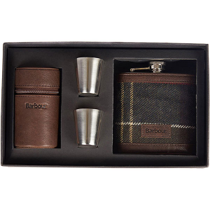 Barbour Tartan Hip Flask and Cups