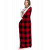 Red Plaid Sherpa Throw Blanket (BL140)