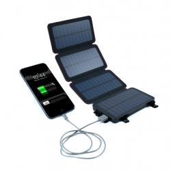 QUADRAPRO 5.5 WATT PORTABLE SOLAR WIRELESS PHONE CHARGER W/ 6,500MAH DUAL USB POWER BANK