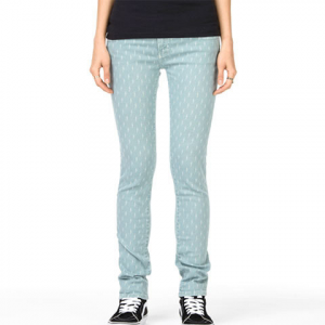Vans Skinny Denim Pants - Women Silver Blue Etched Lightning