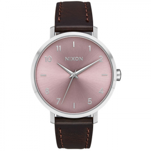 Nixon Arrow Leather Watch - Women's Silver/pale Lavender Os